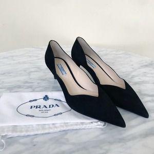 New PRADA Scalloped Black Velvet Kitten Heels